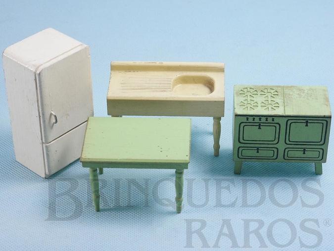 Brinquedo antigo Conjunto com 4 peças de móveis de Cozinha de Casa de Bonecas Década de 1950