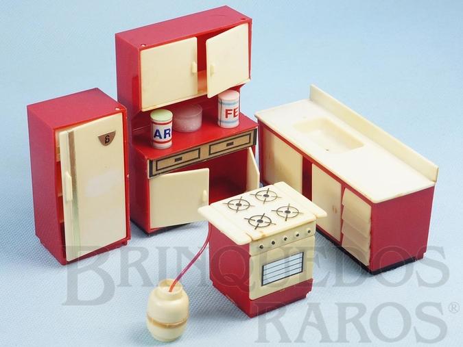 Brinquedo antigo Conjunto com 4 peças de móveis de Cozinha de Casa de Bonecas Década de 1970