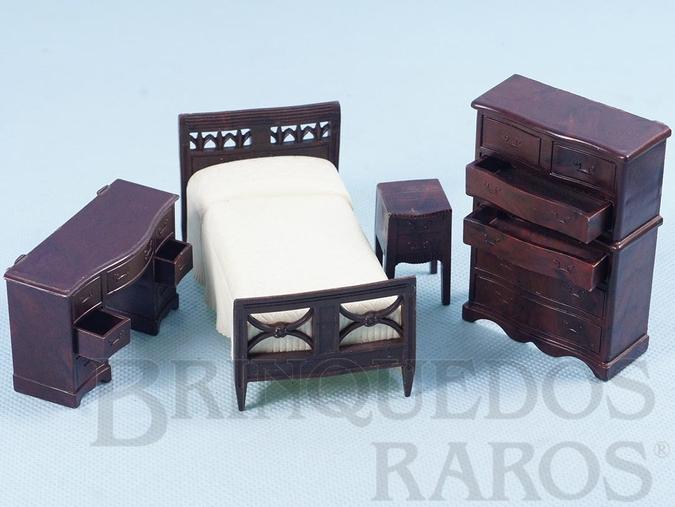 Brinquedo antigo Conjunto com 4 peças de móveis de Quarto de Solteiro de Casa de Bonecas Década de 1950