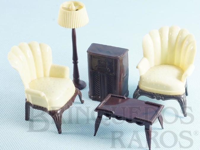 Brinquedo antigo Conjunto com 5 peças de móveis de Sala de Estar de Casa de Bonecas Década de 1950
