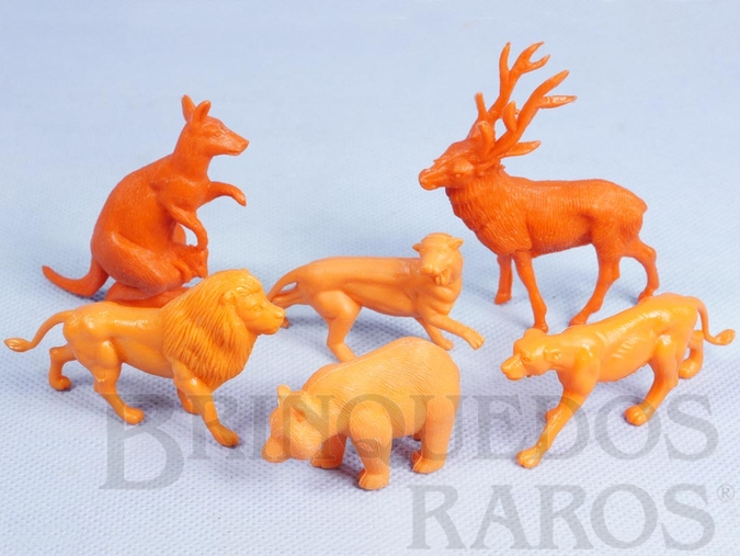Brinquedo antigo Conjunto com 6 Animais Selvagens diversos Série Zoológico Década de 1970