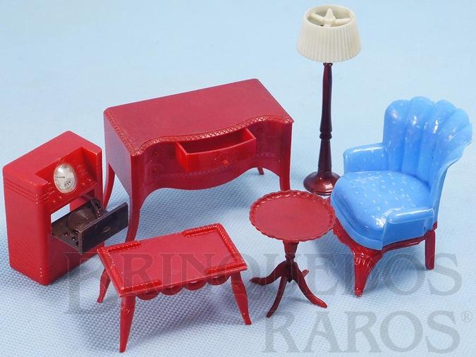 Brinquedo antigo Conjunto com 6 peças de móveis de Sala de Estar de Casa de Bonecas Década de 1950
