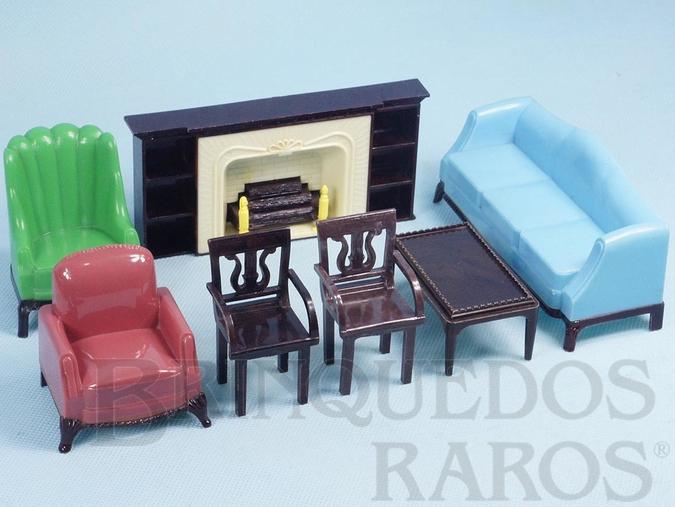 Brinquedo antigo Conjunto com 7 peças de móveis de Sala de Estar de Casa de Bonecas Década de 1950