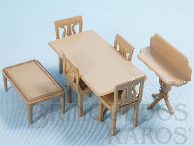 Brinquedo antigo Conjunto com 7 peças de móveis de Sala de Jantar de Casa de Bonecas Década de 1950