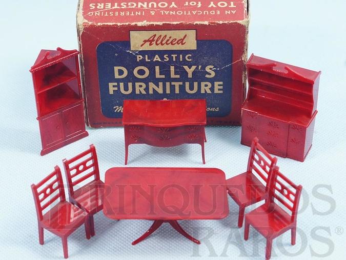 Brinquedo antigo Conjunto com 8 peças de móveis de Sala de Casa de Bonecas em plástico marmorizado Década de 1950