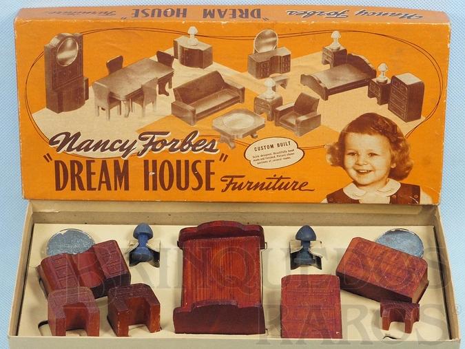 Brinquedo antigo Conjunto com 9 peças de móveis de Quarto de Casa de Bonecas Nancy Forbes Dream House Furniture Década de 1950