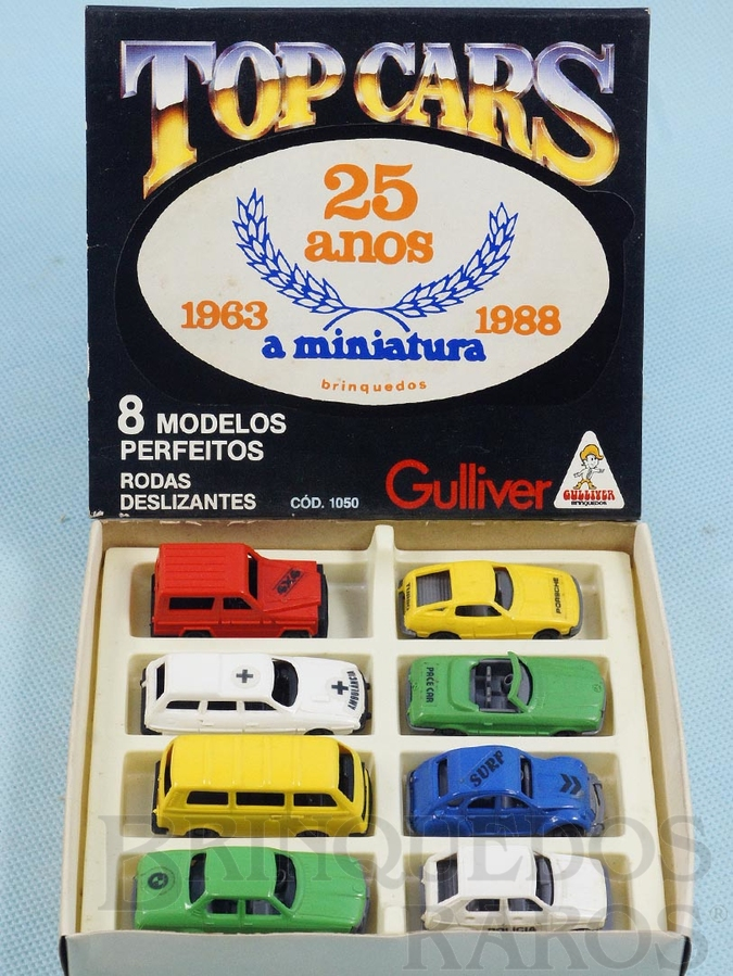 Brinquedo antigo Conjunto Completo Top Cars Collection Scale Models com 8 carros diferentes Adesivo comemorativo 25 anos A miniatura Ano 1988