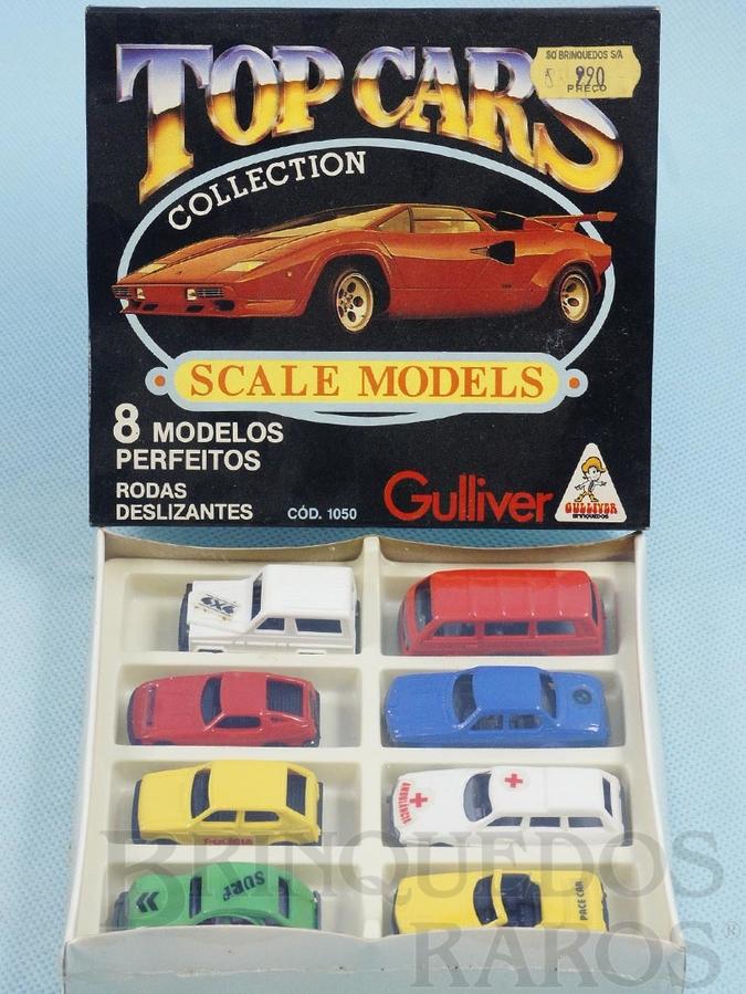 Brinquedo antigo Conjunto Completo Top Cars Collection Scale Models com 8 carros diferentes Embalagem lacrada Década de 1980