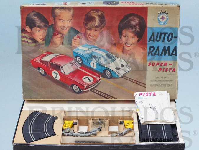 Brinquedo antigo Conjunto de Autorama Super-Pista completo com pista em oito sem carros Excelente estado Código 3261 Maior Caixa de Autorama Datado 21 Dez 1967