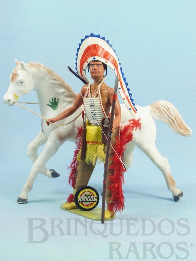 Brinquedo antigo Conjunto de Boneco Indio Jerônimo e Cavalo Índio Série Super Amigos Perfeito estado Completo Ano 1977