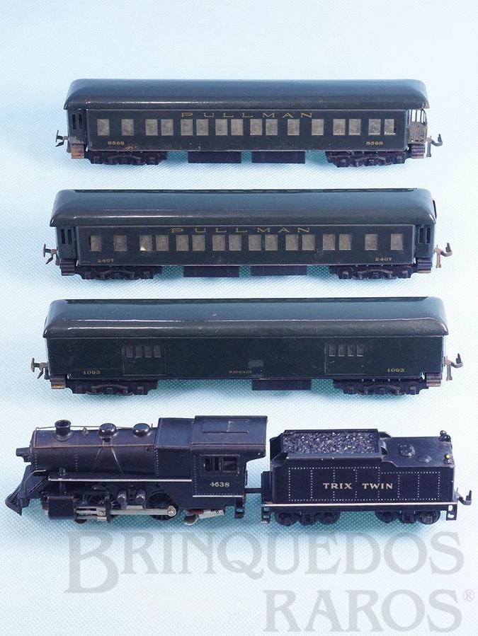 Brinquedo antigo Conjunto de Locomotiva a vapor 040 um vagão de bagagens e dois carros Pullman de passageiros Sistema Trix Twin Corrente Contínua Ano 1948