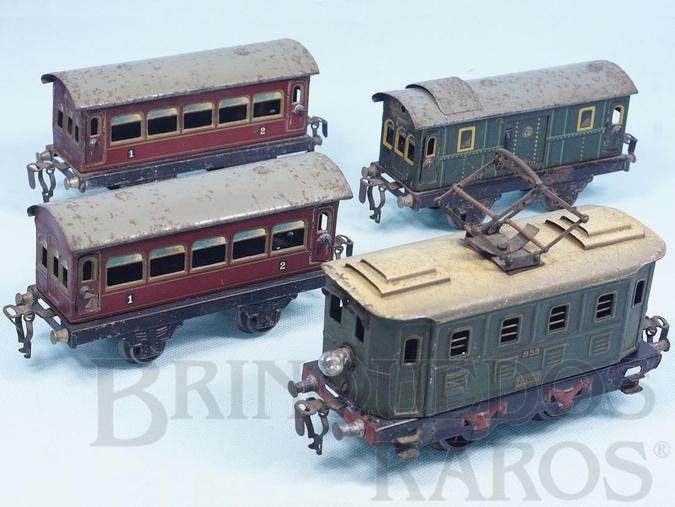 Brinquedo antigo Conjunto de Locomotiva elétrica e 3 Carros de passageiros Ano 1925