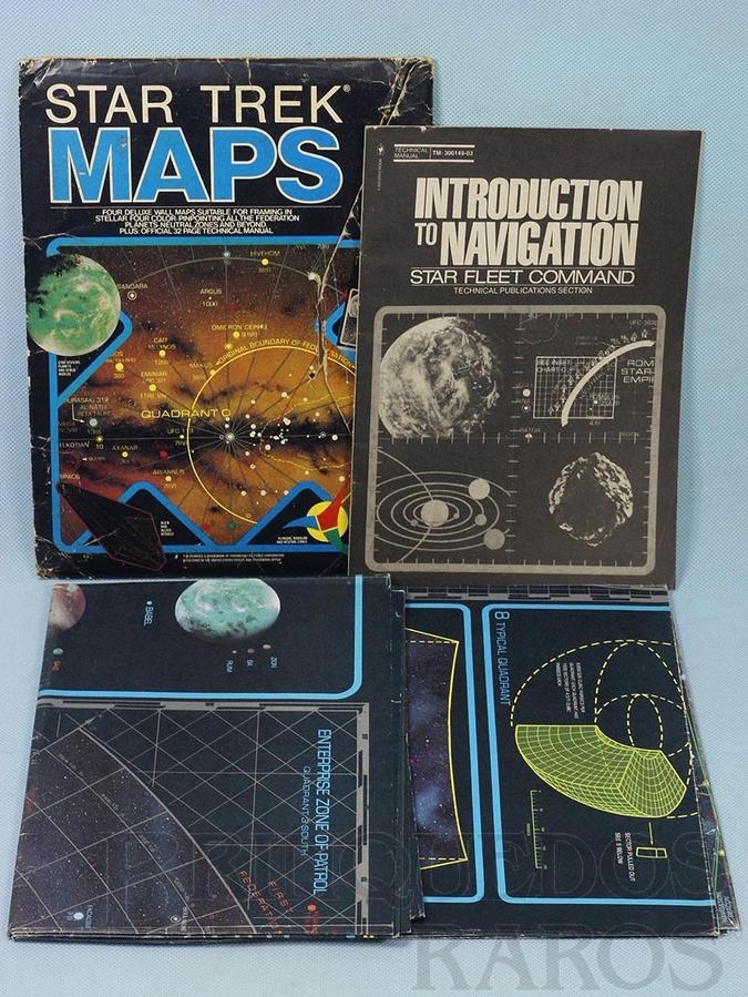Brinquedo antigo Conjunto de Mapas Jornada nas Estrelas Star Trek Maps com 4 mapas em duas folhas e um Folheto de Navegação Década de 1980.
