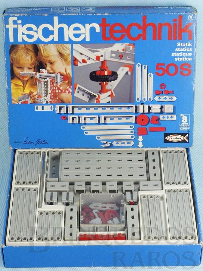 Brinquedo antigo Conjunto de Montar Fischer Technik número 50S Década de 1970
