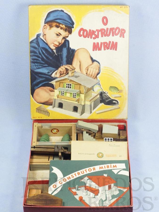 Brinquedo antigo Conjunto de Montar O Construtor Mirim Caixa com 35,0 x 30,0 cm 95 peças Completo 100% original Com Manual de Instruções Década de 1950