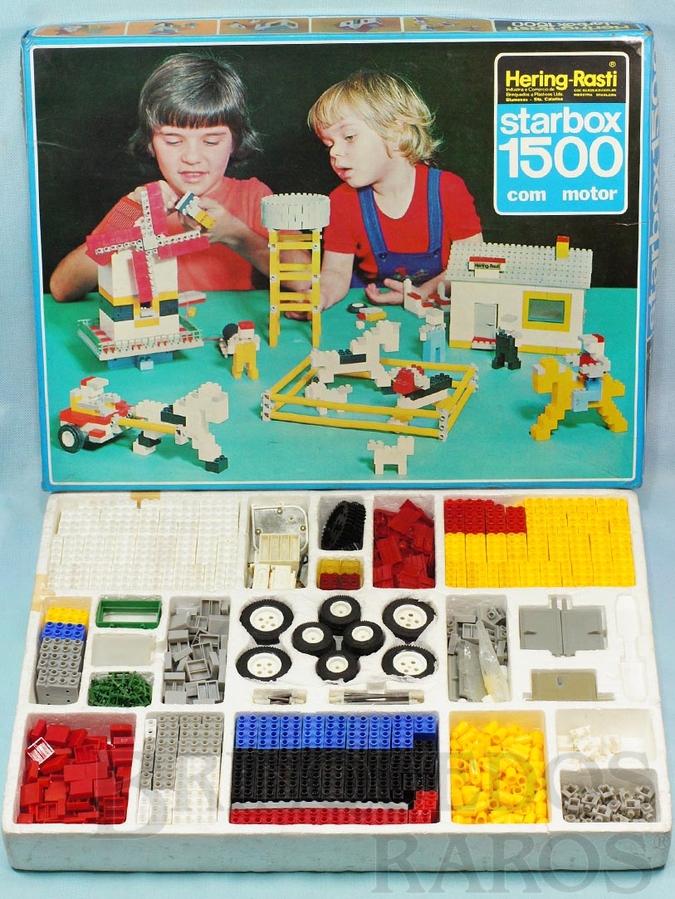 Brinquedo antigo Conjunto de montar Starbox 1500 com 1150 peças Motor Caixa de pilhas Engrenagens etc Década de 1970
