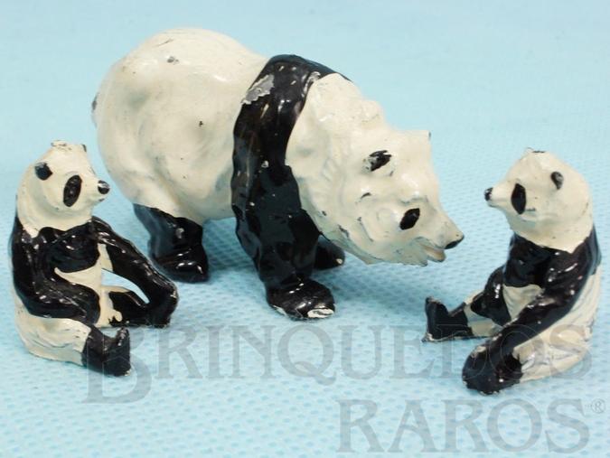 Brinquedo antigo Conjunto de três Ursos Panda Zoo Série Década de 1950
