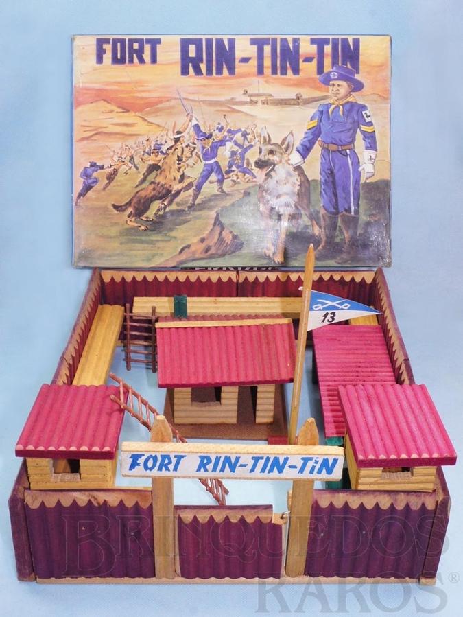 Brinquedo antigo Conjunto Fort Rin Tin Tin base 38,00 x 35,00 cm Completo perfeito estado 100% original Caixa Datada 07/12/1970