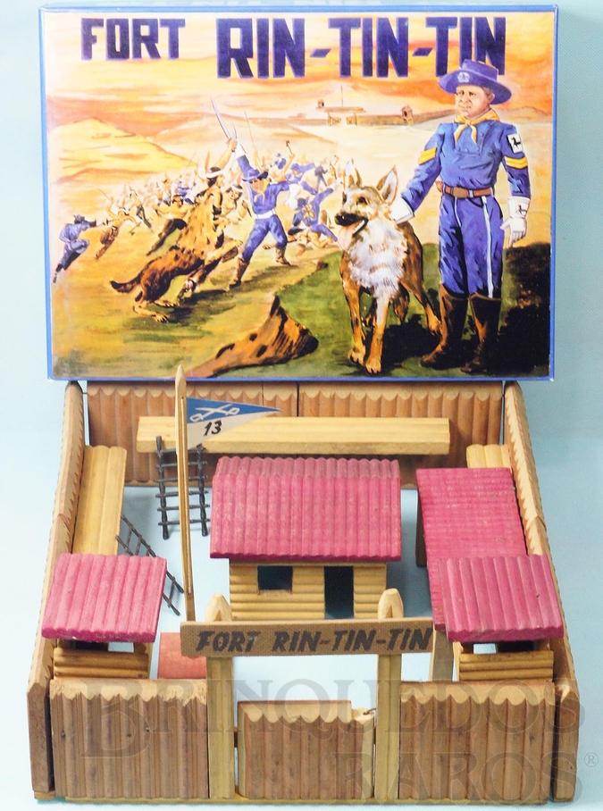 Brinquedo antigo Conjunto Fort Rin Tin Tin base 38,00 x 35,00 cm Perfeito estado Completo 100% original Década de 1970