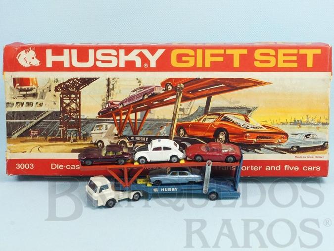 Brinquedo antigo Conjunto Husky Gift Set com Caminhão Cegonha Hoynor Car Transporter e 4 carros Husky Década de 1960