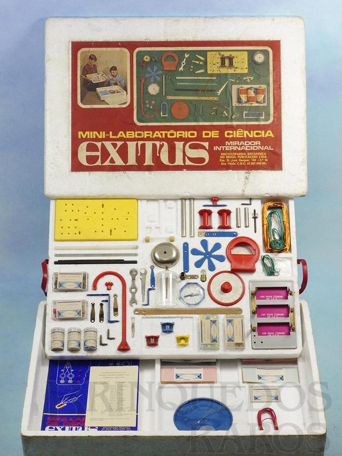 Brinquedo antigo Conjunto Mini-Laboratório de Ciência Exitus Mirador Internacional Década de 1970