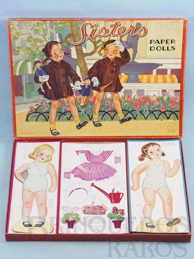 Brinquedo antigo Conjunto Sisters Papper Dolls com 2 Bonecas e 12 conjunto de Roupas para recortar Década de 1950