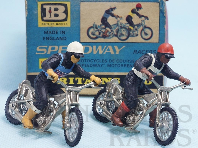 Brinquedo antigo Conjunto Speedway Motorcycles com 2 Motocicletas e motociclistas Década de 1970