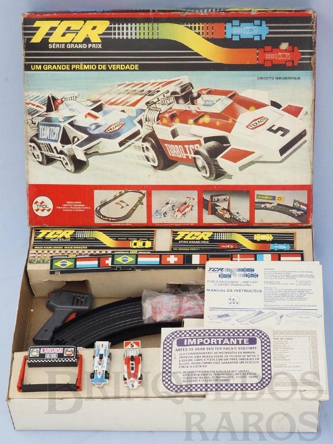Brinquedo antigo Conjunto TCR Circuito Indianápolis completo com dois carros Fórmula Indy Década de 1980