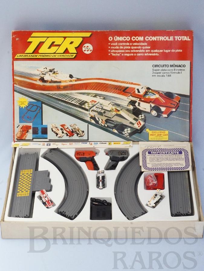 Brinquedo antigo Conjunto TCR Circuito Mônaco completo com três carros Fórmula Indy Década de 1980