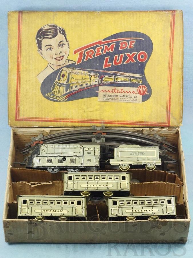 Brinquedo antigo Conjunto Trem de Luxo com Locomotiva e três Carros de Passageiros Década de 1950