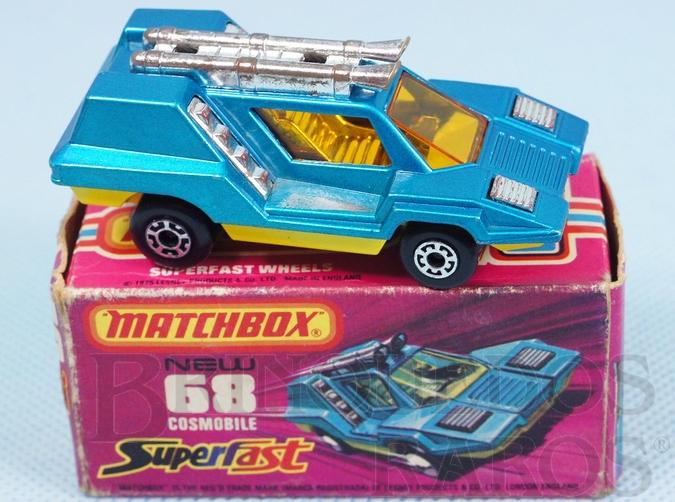 Brinquedo antigo Cosmobile Superfast azul metálico