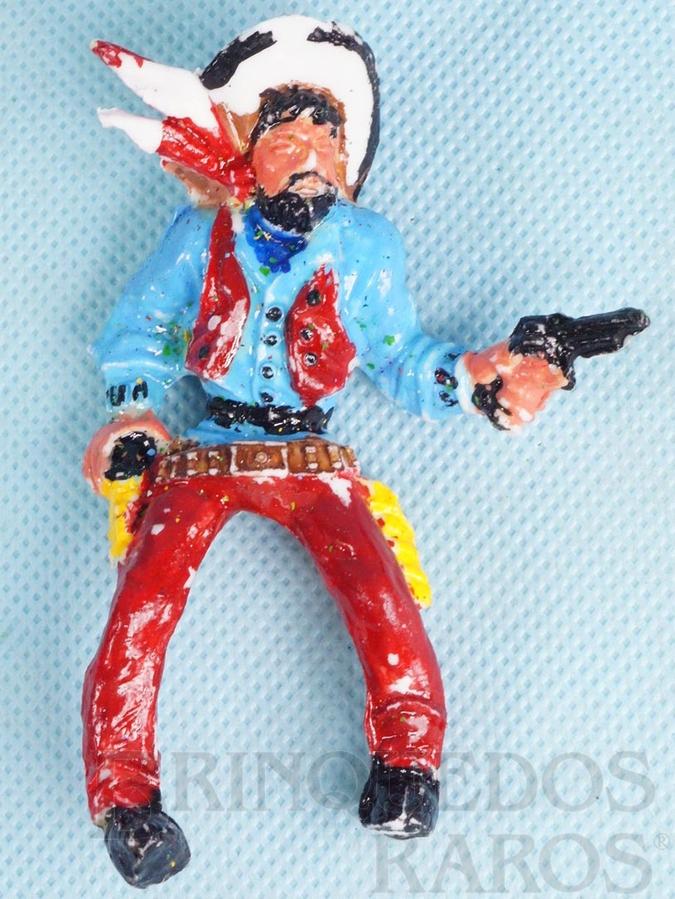 Brinquedo antigo Cowboy montado a cavalo com revolver 9,00 cm de altura Década de 1970
