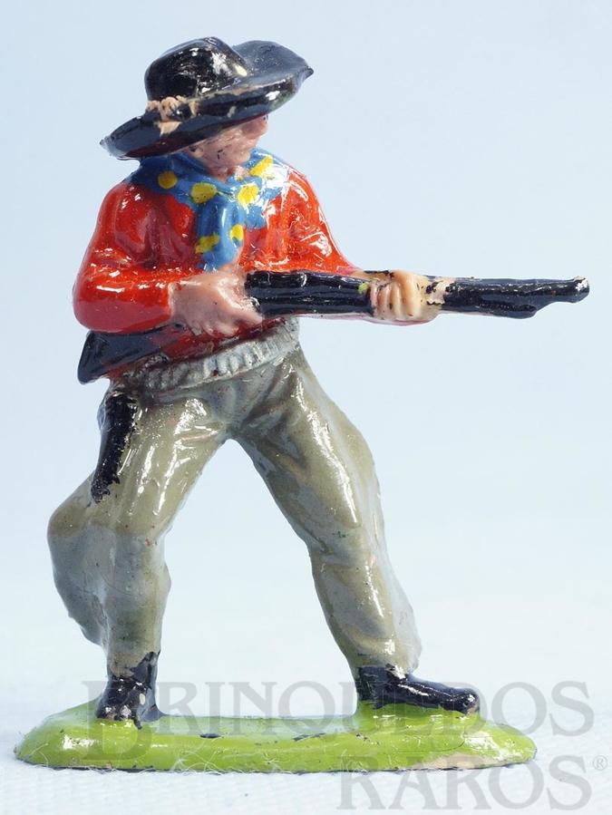 Brinquedo antigo Cowboy de pé atirando com rifle Casablanca numerado 123 Década de 1960