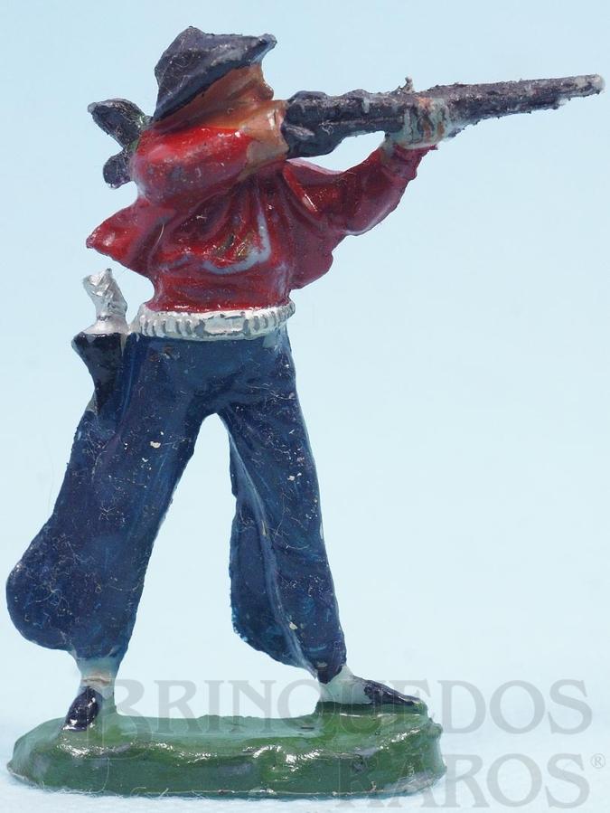 Brinquedo antigo Cowboy de pé atirando com rifle de plástico azul pintado Década de 1960