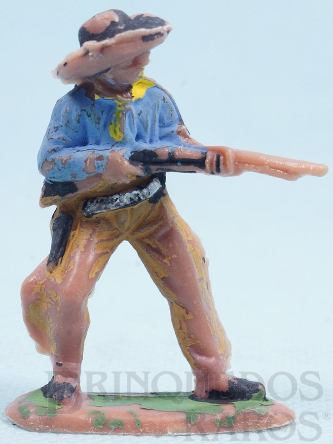 Brinquedo antigo Cowboy de pé atirando com rifle Gulliver Década de 1970