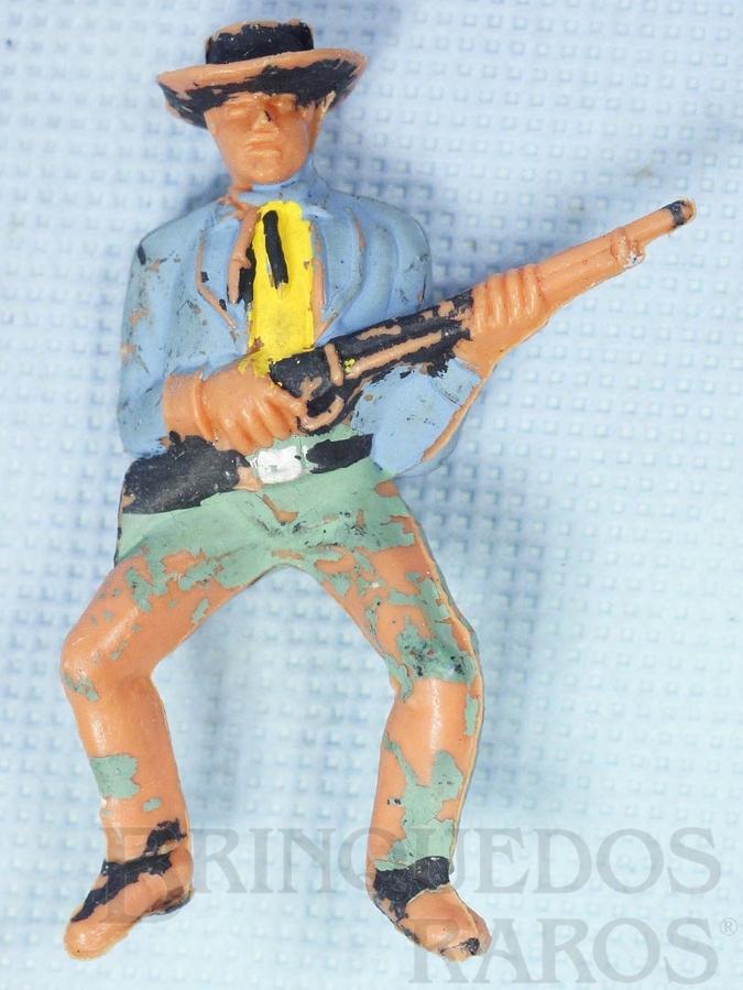 Brinquedo antigo Cowboy montado a cavalo com rifle Gulliver Década de 1970