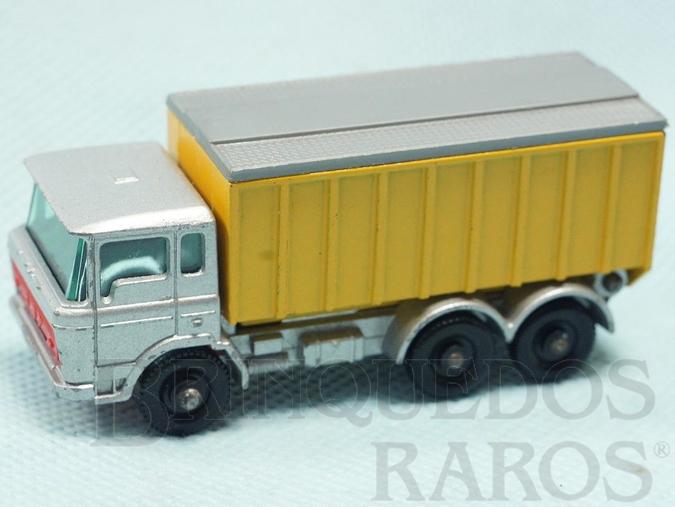 Brinquedo antigo DAF Tipper Container Truck black plastic Regular Wheels