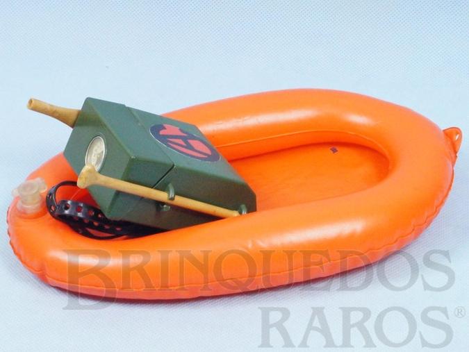 Brinquedo antigo Desafiando a Fúria do Mar com Bote Salva Vidas Remo e Mochila com Bússola Série 1977