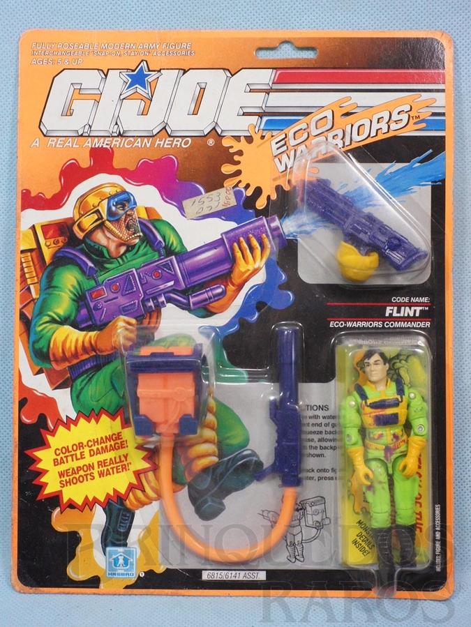 Brinquedo antigo Eco Warriors Flint completo blister lacrado Ano 1990