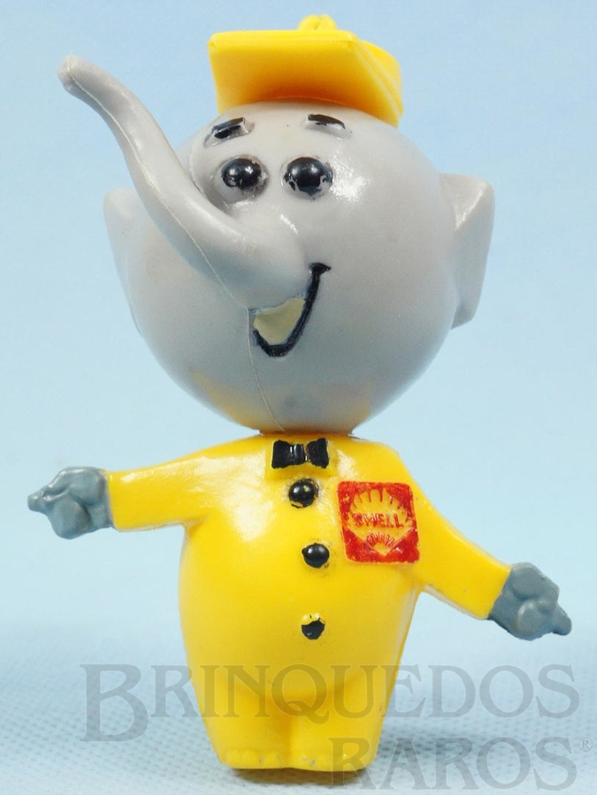 Brinquedo antigo Elefantinho da Shell com 9,00 cm de altura Brinde da Gasolina Shell Década de 1960
