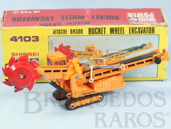 Brinquedo antigo Escavadeira Rotatória Hitachi BH500 Bucket Wheel Excavator com 17,00 cm de comprimento Série Mini Power Década de 1980