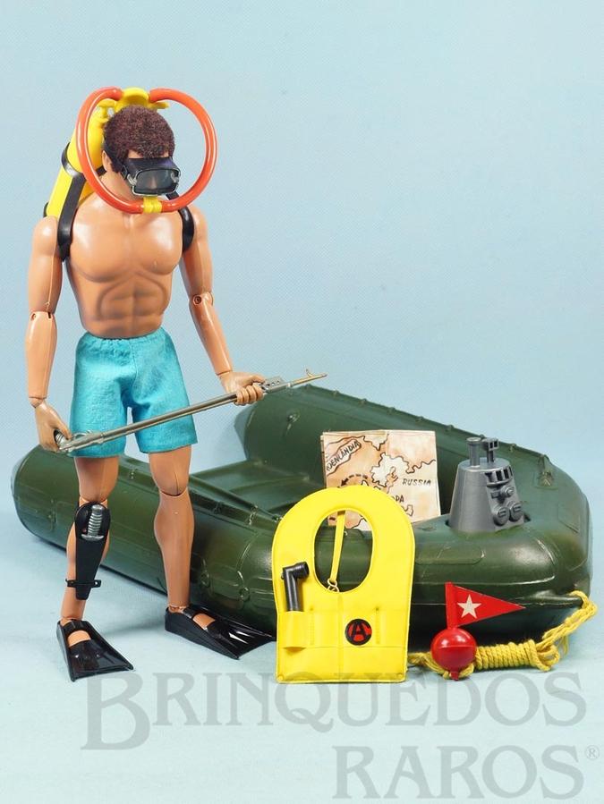 Brinquedo antigo Falcon Aventura Comandos no Mar Missão Salvamento com Bote e mais 12 Itens Edição 1978 Preço sem o Boneco