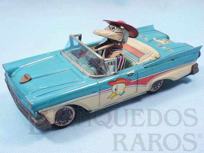 Brinquedo antigo Ford Fairlane 1961 conversível Merry Duck com Pato motorista 20,00 cm de comprimento Pato com movimentos do bico e dos braços Década de 1960