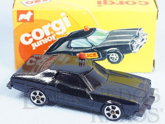 Brinquedo antigo Ford Gran Torino preto Starsky and Hutch Brazilian Corgi Jr Kiko