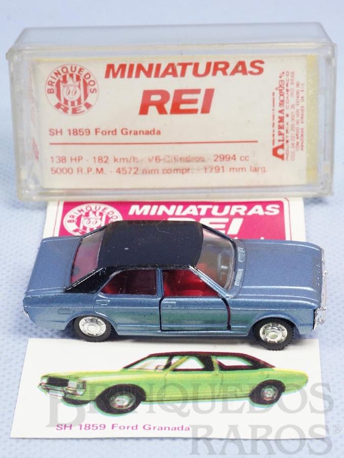 Brinquedo antigo Ford Granada azul metálico Schuco Modell Brasilianische Schuco Rei completo com Catálogo e Cromo
