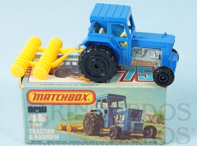 Brinquedo antigo Ford Tractor and Harrow Superfast azul