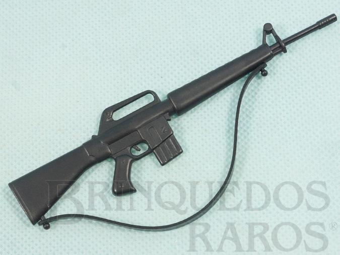Brinquedo antigo Fusil AR15 preto Aventura Posto de Comando e Missão Teleférico Ano 1978