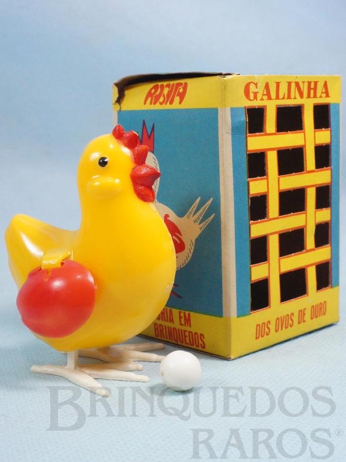 Brinquedo antigo Galinha dos ovos de ouro 8,50 cm de altura Década de 1960