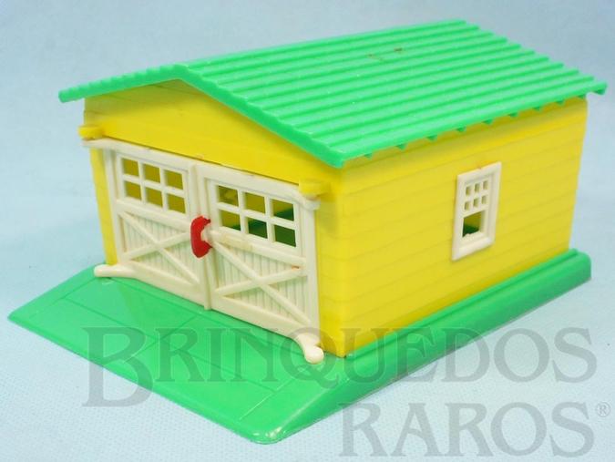 Brinquedo antigo Garagem amarela e verde com 25 cm de comprimento Década de 1950