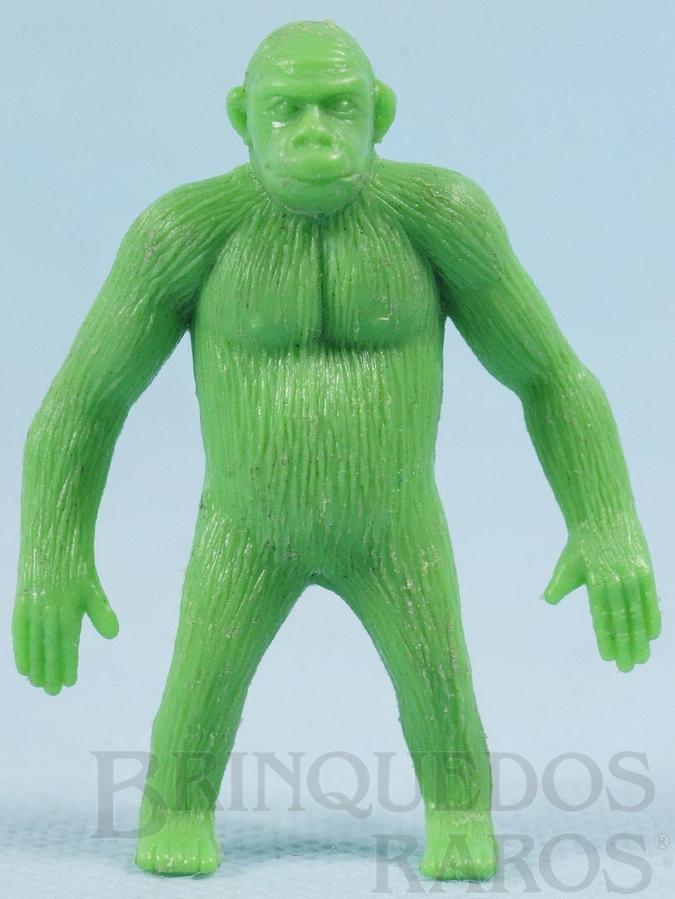 Brinquedo antigo Gorila de plástico verde Série Zoológico década de 1970